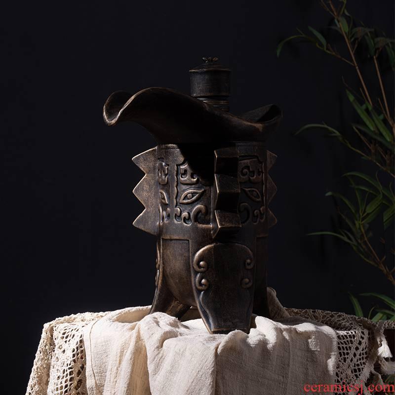 An empty bottle of jingdezhen ceramic decoration creative household seal wine 1 catty 5 jins of archaize little hip belt gift box