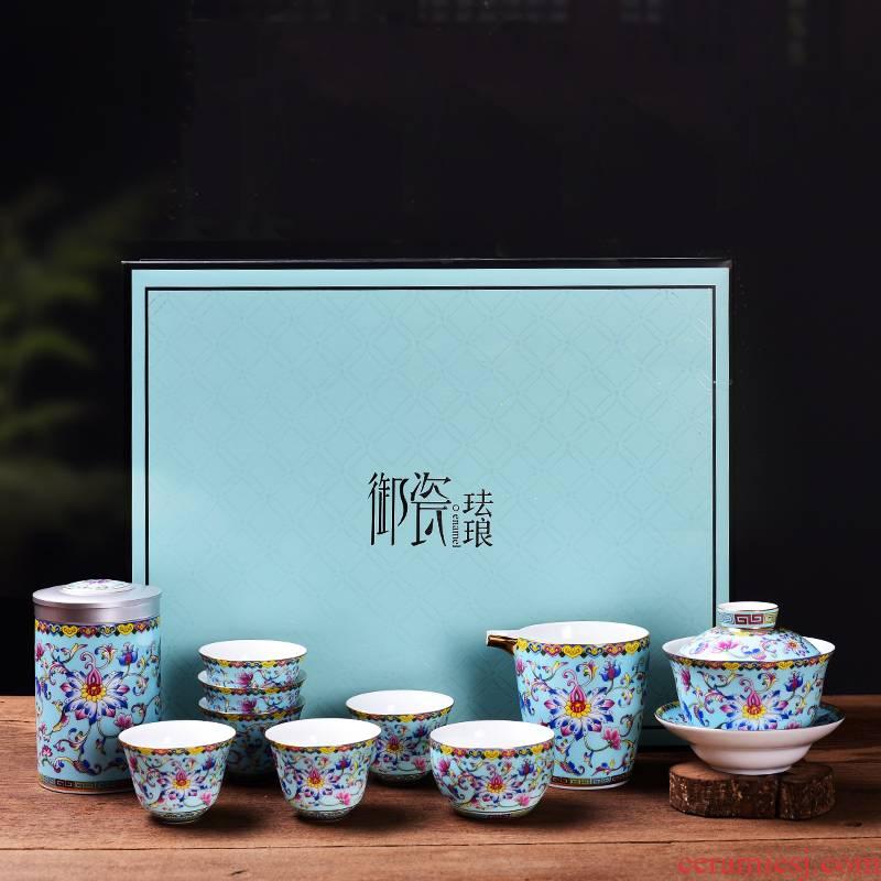 Jingdezhen ceramic colored enamel kung fu tea set domestic high - grade Chinese three tureen master cup tea cup