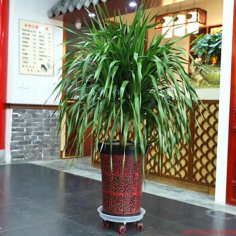 Pulley flowerpot holder thickening resin flower pot tray was universal wheel Pulley flowerpot transparent version a flower pot holder base