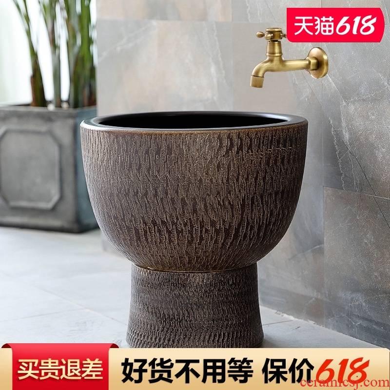 The Mop pool handicraft in jingdezhen ceramic household balcony retro archaize floor size Mop pool