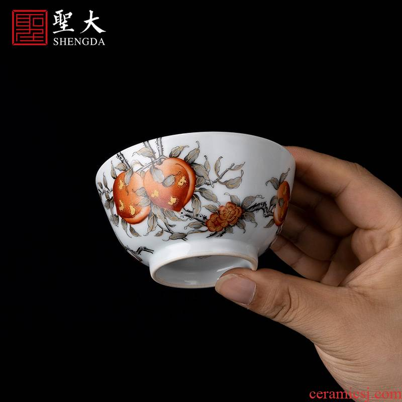 Holy big ceramic fuels the alum red ink in the branches of peach lines master cup sample tea cup jingdezhen high - grade tea set