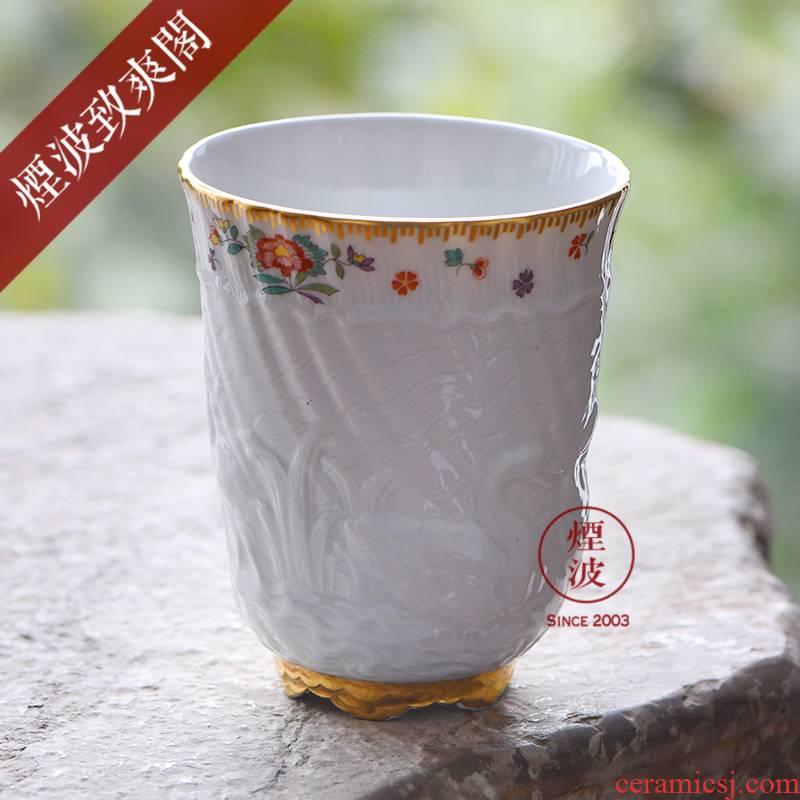 Germany MEISSEN porcelain swan mason series white paint painting flower tea cups