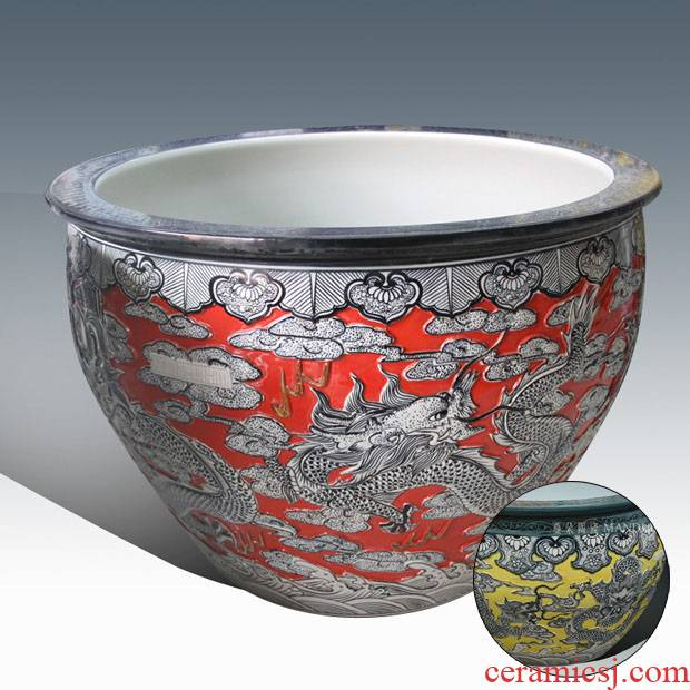 Jingdezhen, 65, 80, 90 large diameter end of red and yellow porcelain carved dragon dragon carving large cylinder
