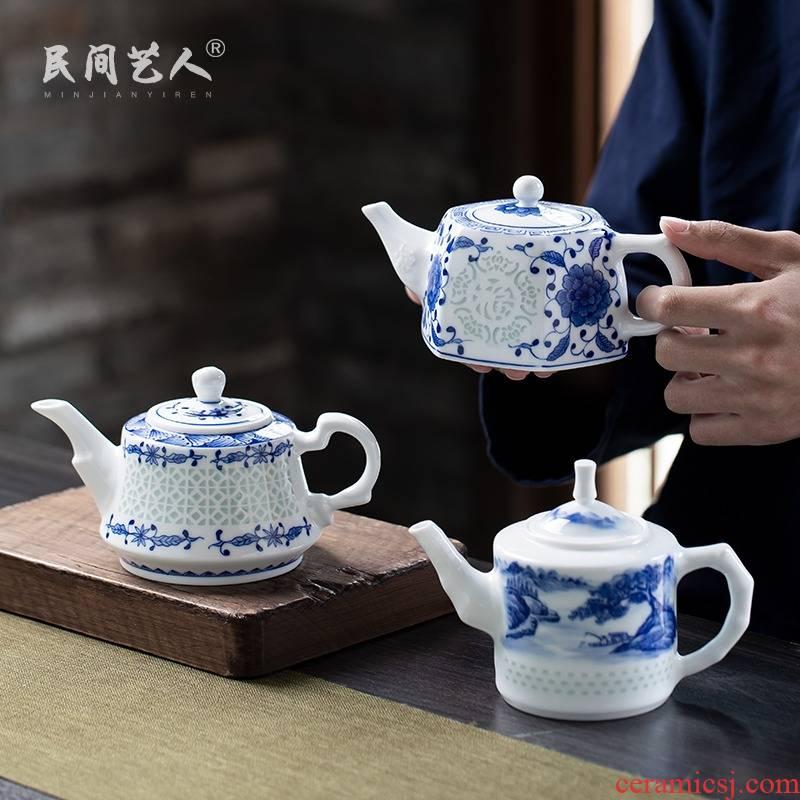 Jingdezhen blue and white and exquisite hand - made exquisite ceramic teapot kung fu tea tea, large - capacity single pot teapot