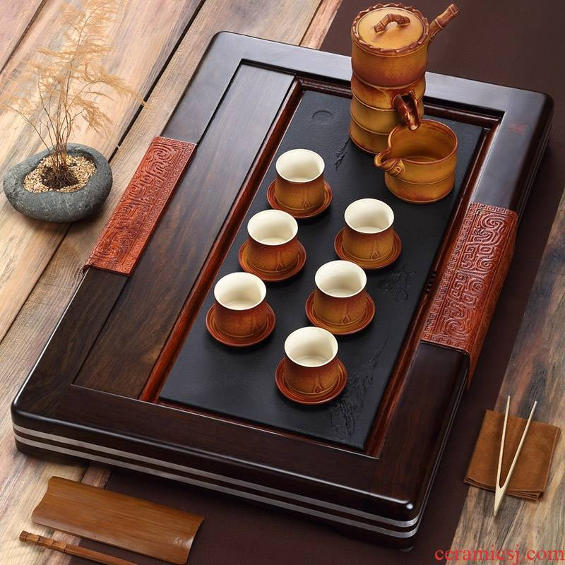 Qiao mu home a whole set of violet arenaceous kung fu tea sets tea black sandal wood tea tray tea sets tea sea contracted tea cup