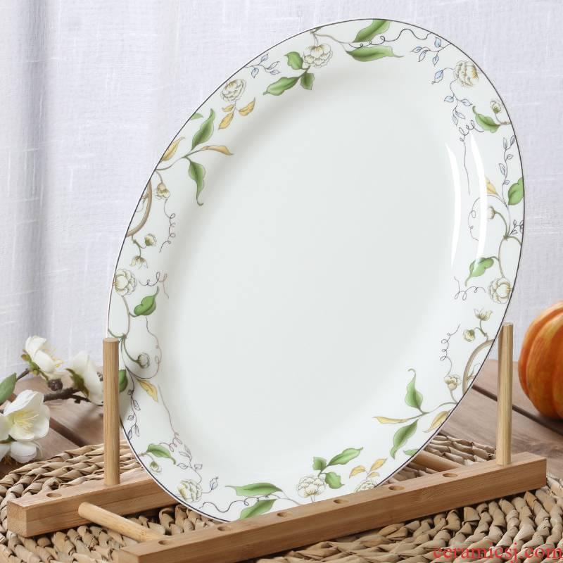 Ceramic grilled fish fish dish home steamed fish dish dish, oval plate ipads porcelain 12 - inch fish dish fish dish