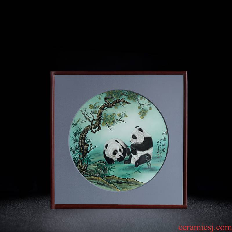 Jingdezhen porcelain plate painting panda rectangular solid wooden frame, hang a picture to the sitting room sofa study porch decoration in the background