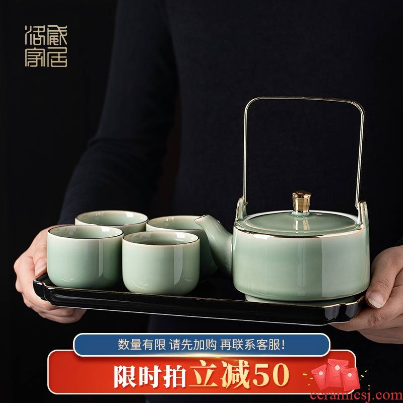 In 2021 the new celadon girder teapot trumpet contracted kung fu tea set a complete set of tea cups the teapot