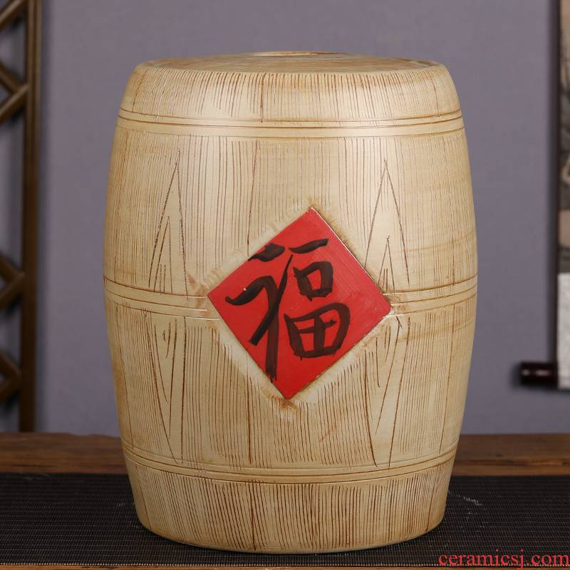 Jingdezhen ceramic barrel home 20 jins 30 jins 50 with imitation solid wood flour barrels moistureproof with cover seal storage tank