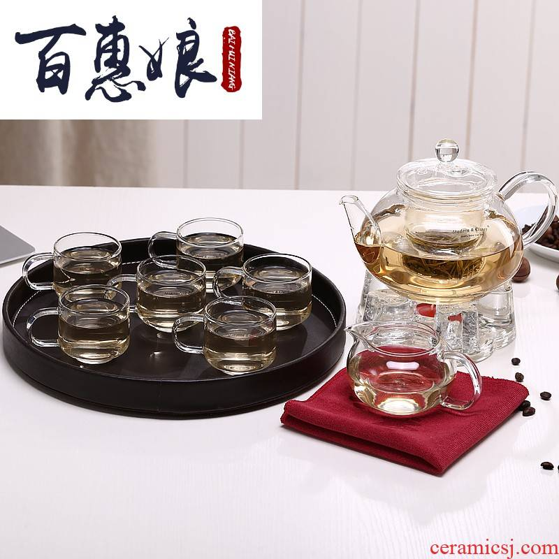 (niang tea set suits for the high borosilicate glass ceramic kung fu tea set tea service of a complete set of explosion - proof ground