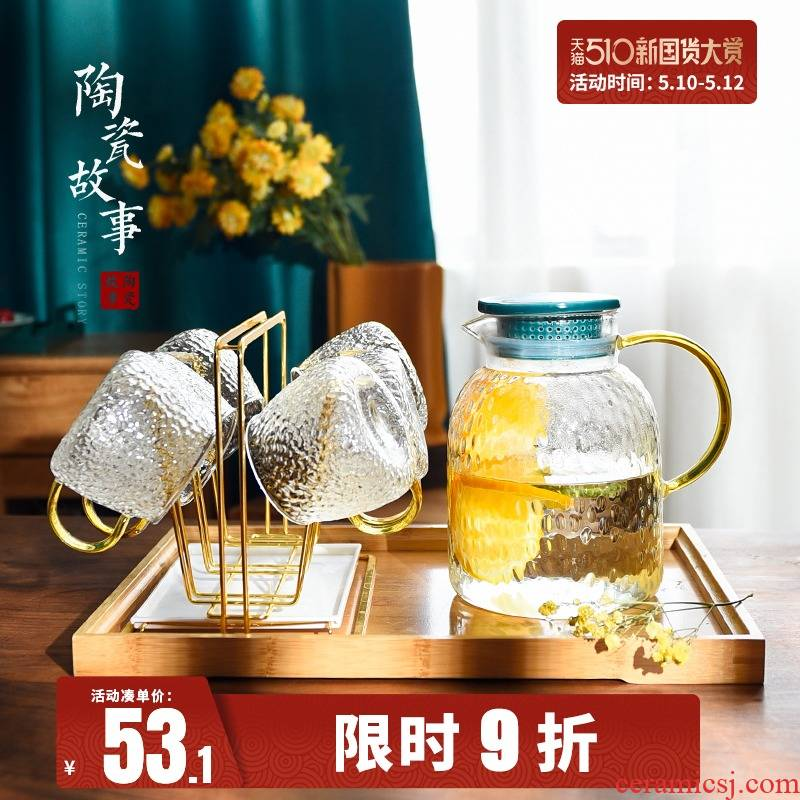 Ceramic story cold bottle home refractory glass kettle juice cool water bottle glass suits for large capacity