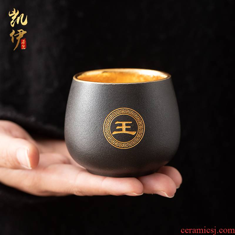 Coarse pottery gold surname cup cup master cup tea sample tea cup jinzhan cup high - grade ceramic cups support custom