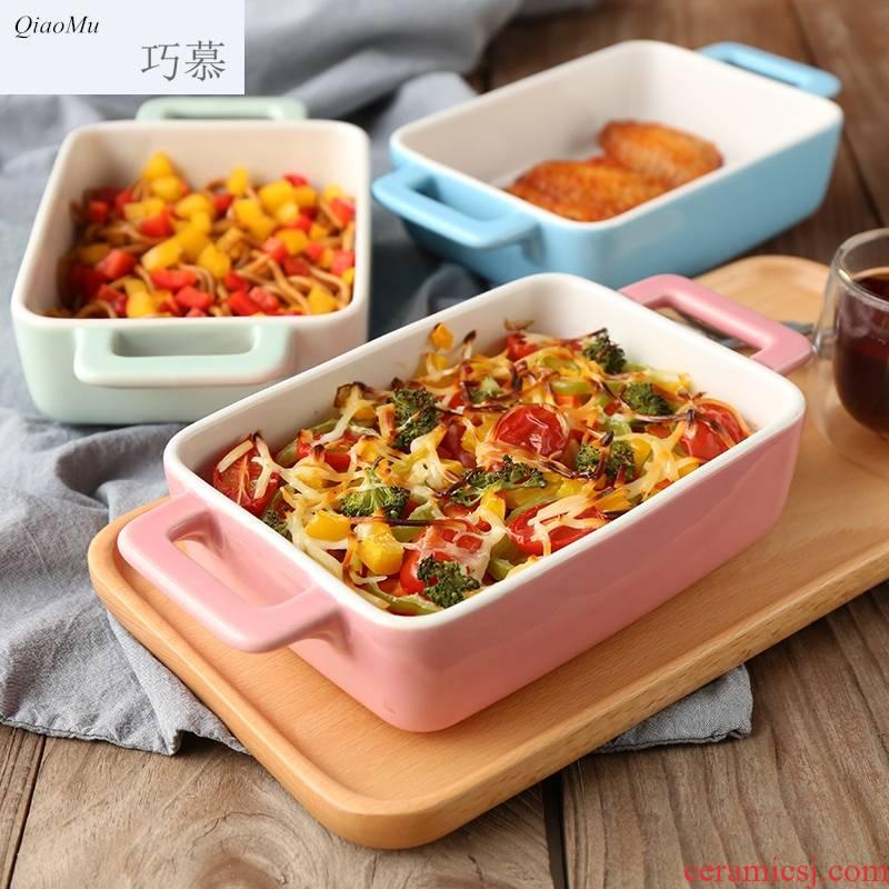 Qiao mu candy color ceramic ears rectangle baking bowl baking pan baked FanPan pasta dish oven tray
