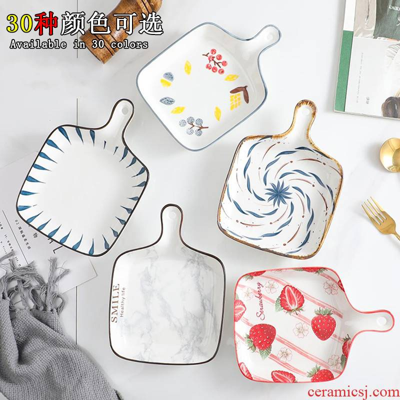 Web celebrity home plate oven baked baked FanPan Nordic baking tray is creative ceramic tableware with handle food dish