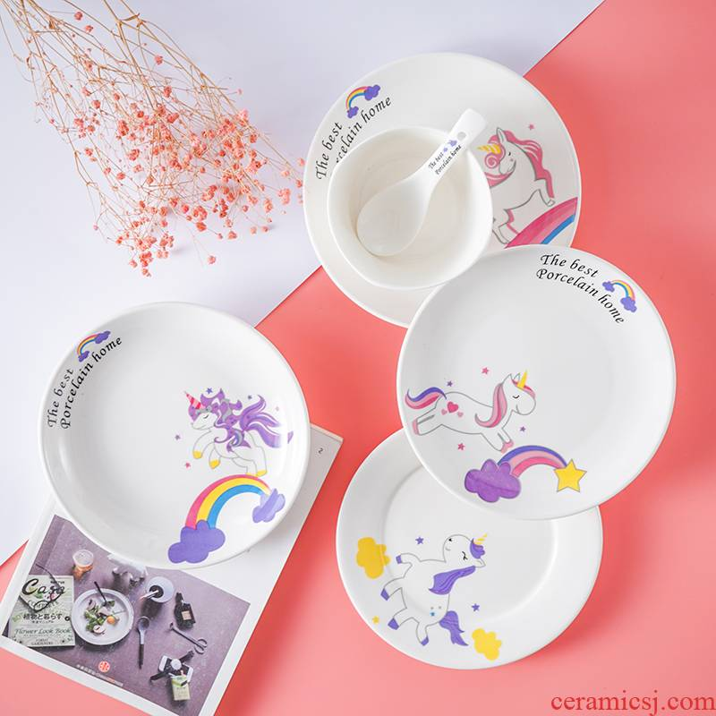 Ins Nordic contracted wind ceramic tableware creative household food dish steak rice bowl spoon cake all the dishes