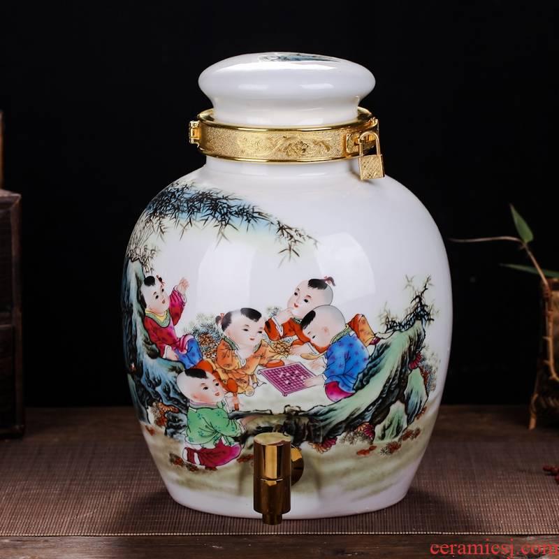 Qiao mu jingdezhen high white porcelain jars 10 jins 20 jins 30 jins mercifully wine bottle with leading wine pot mercifully medicine jars
