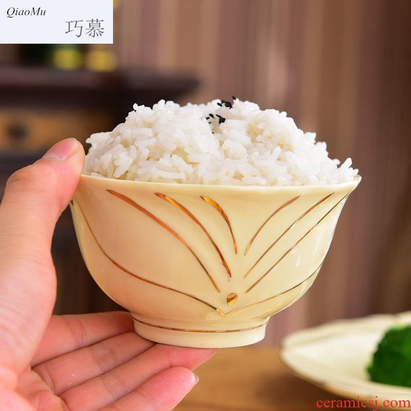 Qiao mu European high rice bowls 6/10 suit composite ceramic tableware household creative move up phnom penh court