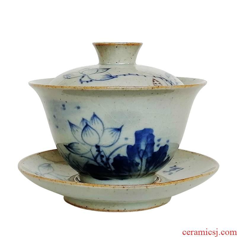 Archaize tureen tea cups a single large bowl lotus kung fu tea set restoring ancient ways jingdezhen ceramic three