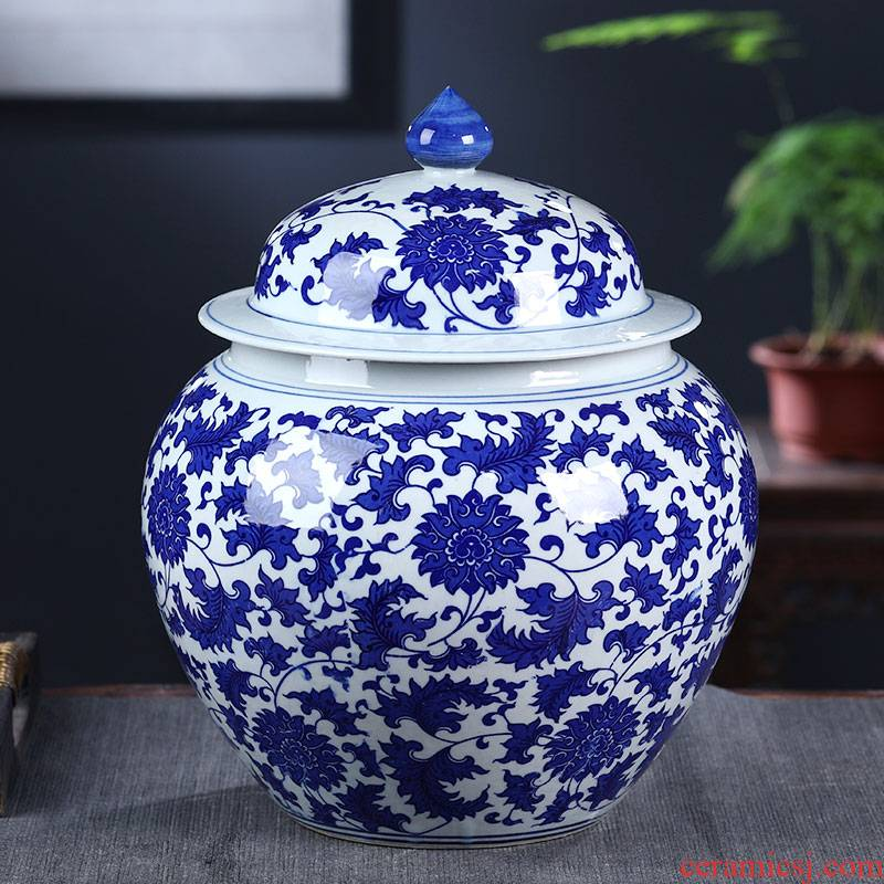 Jingdezhen ceramics general archaize of blue and white porcelain jar with cover large storage tank tea pot ornament furnishing articles