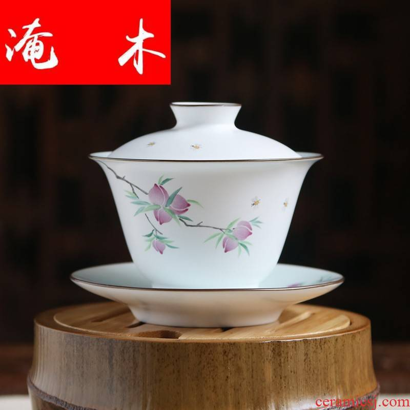 Flooded, rhyme tureen ceramic cups tea bowl of jingdezhen tea service hand - made pastel three cups of large - sized S1200