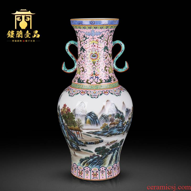 Jingdezhen ceramics powder enamel bound branch landscape ears flower vase Chinese style living room home decoration collection furnishing articles