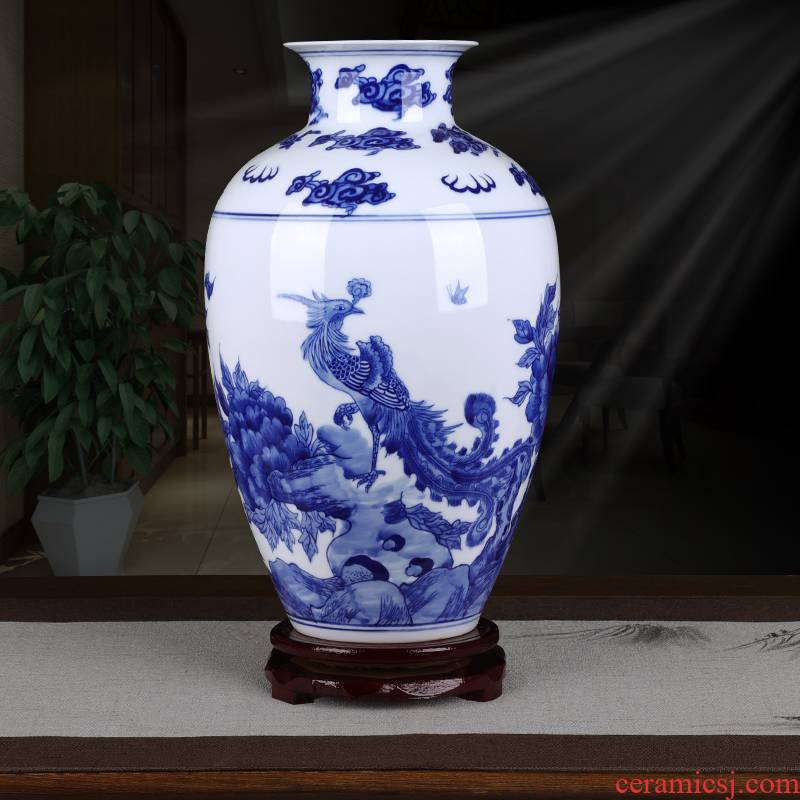Jingdezhen blue and white phoenix peony Chinese style household ceramics thin foetus archaize sitting room TV ark adornment furnishing articles