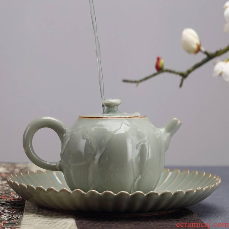 Qiao mu jingdezhen measured your up water round pot bearing kung fu tea set dry tea plate checking ceramic dry