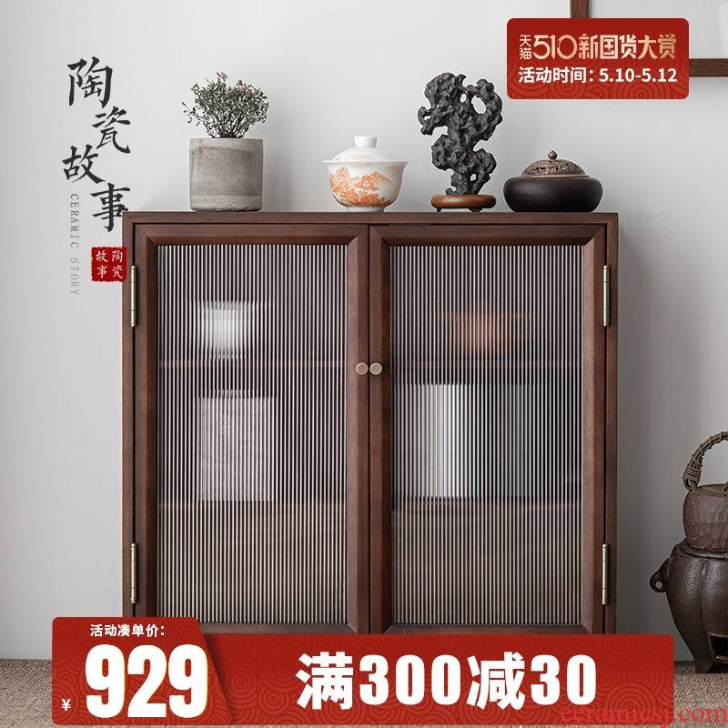 Story of pottery and porcelain tea set the receive ark of black walnut real wood, the display dustproof tank water tank of the sitting room of the new Chinese style tea tank