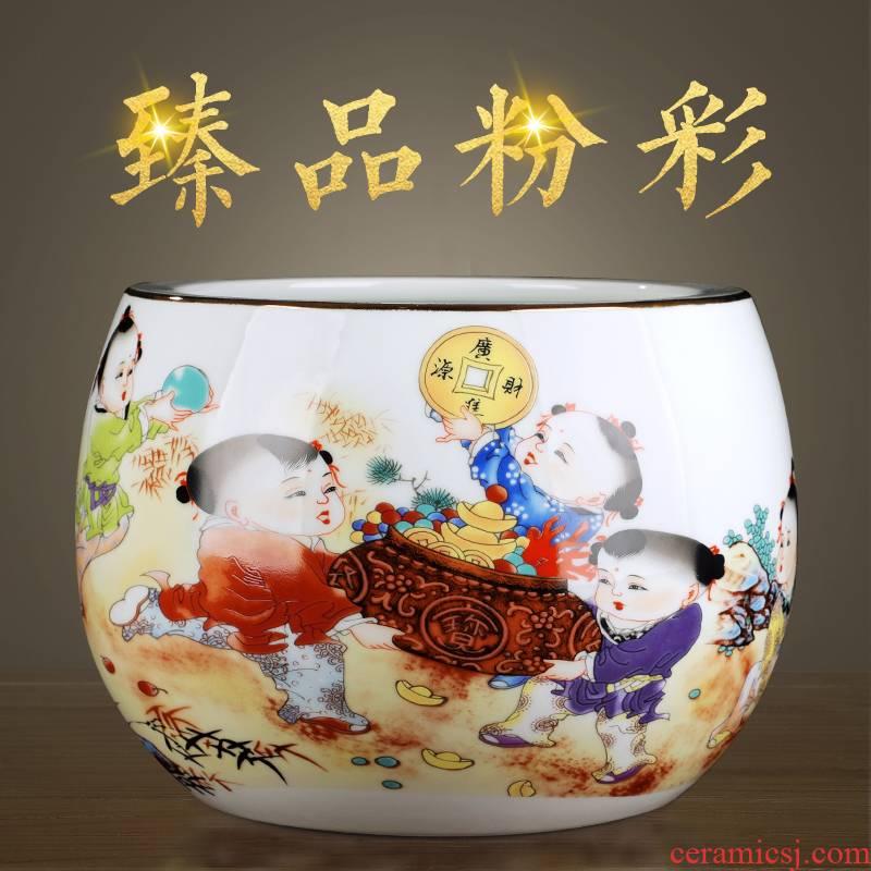 Jingdezhen ceramics pastel landscape basin cylinder creative household adornment TV ark, place of the sitting room porch decoration
