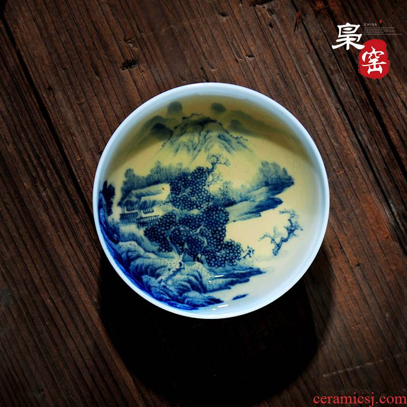 Jingdezhen ceramic sample tea cup single CPU hand - made pastel blue and white master kung fu tea cup painting of landscape of individual cup