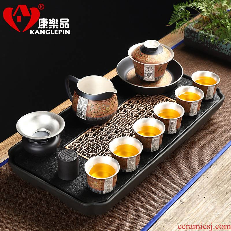 Recreational product coppering. As silver purple sand tea set automatically set high - grade double - color retro hot home tea; Preventer gift boxes