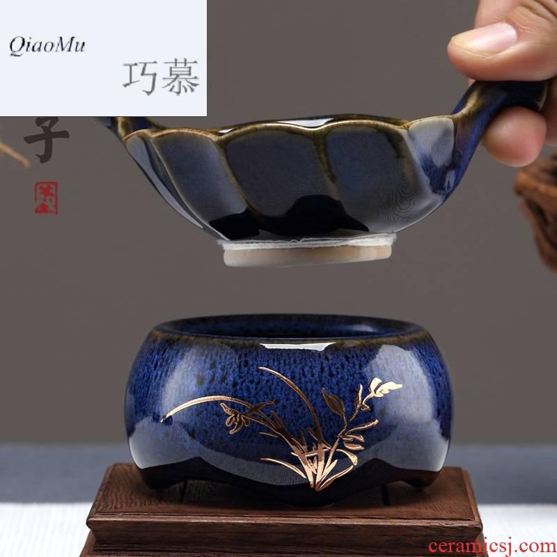 Qiao MuFengZi ceramic tea set creative fair keller) blue TuHao 鏒 gold make tea tea filter filter with zero