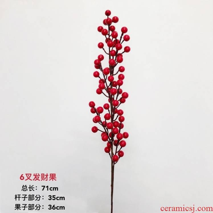 Crabapple rich fruit simulation flowers, wedding auspicious fruit Holly red bean sitting room fake glass ceramic vases, flower arrangement