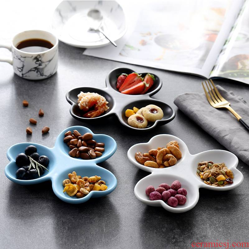Creative cafe tray 3 g flat ceramic plate is contracted points snack plate of black and white western restaurant dishes