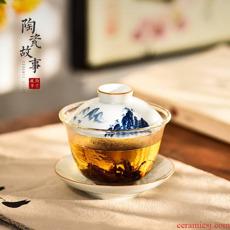 Jingdezhen ceramic story glass tureen single three cups to high - end porcelain kung fu tea set tea bowl