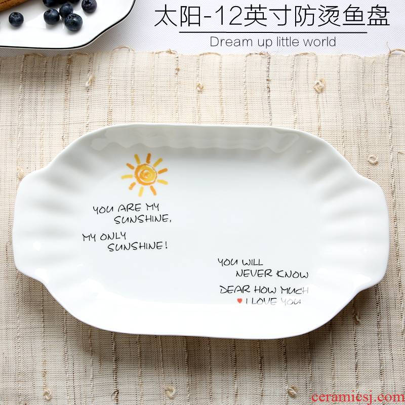 Ceramic fish fish dish plate of household size 12 inch rectangular plate steamed fish dish fish dish Nordic creative dishes