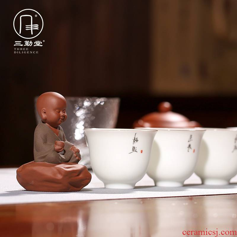 The three regular mini violet arenaceous meditation The young monk tea pet furnishing articles creative home monk tea can keep S06043