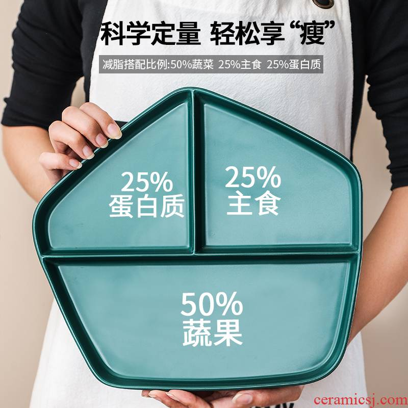 Ceramic frame plates home fitness special diets tableware policy reduced fat separation plate plate one