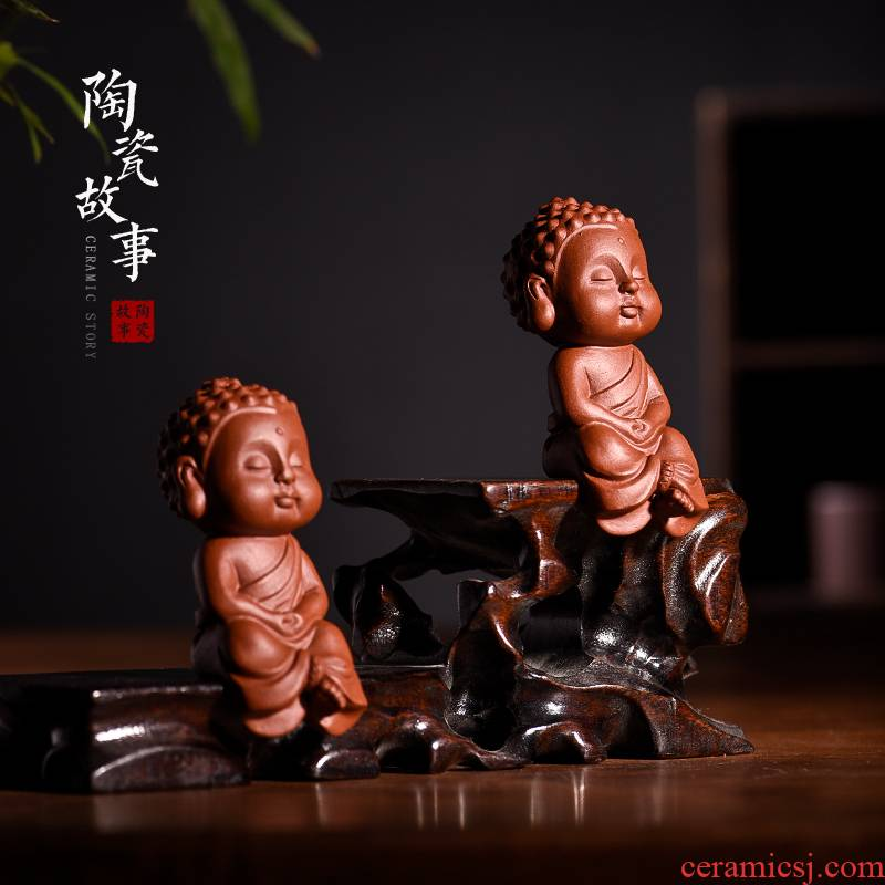 Familiar place fine ceramic story tea and tea tea accessories purple sand tea sets tea table decoration play little monks
