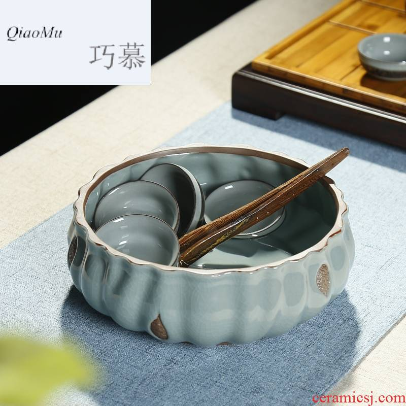 Qiao mu large ceramic tea wash your writing brush washer from creative tea accessories kung fu tea cups copy elder brother up is the when a flower pot