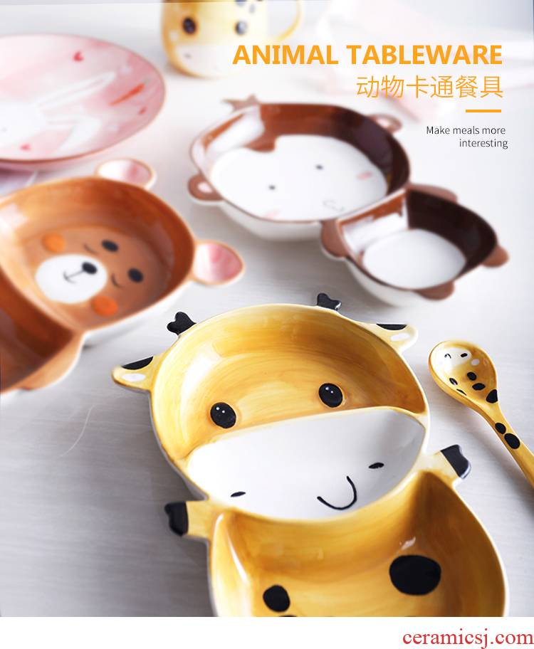 2021 children jingdezhen express animals creative ceramic tableware cartoon baby food bowl bowl bowl dish for breakfast