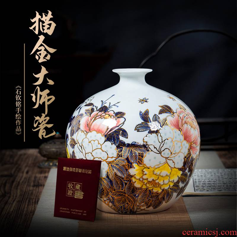 Jingdezhen ceramics vase hand - made paint pomegranate bottles of furnishing articles new Chinese flower arranging rich ancient frame sitting room adornment