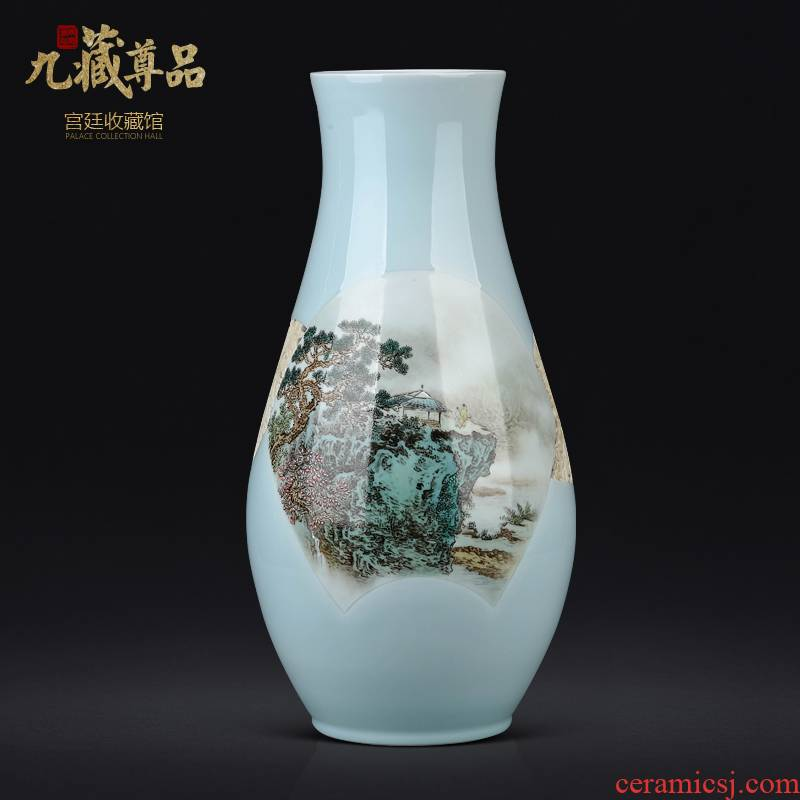 The Master of jingdezhen ceramics hand - made pastel landscape vase Chinese style living room TV cabinet porch is decorated furnishing articles