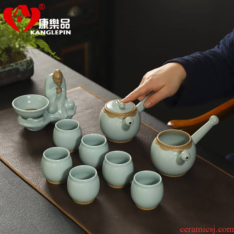Recreational product upscale your up kung fu tea set incense ashes tire ceramics slicing teapot teacup household gift for