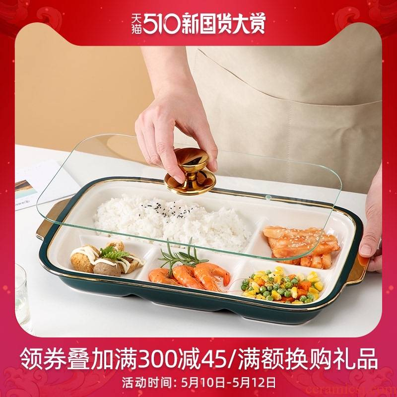 Ceramic dinning plate frame creative dribbling cover reduced fat breakfast snack plate hotel club high - end food tableware