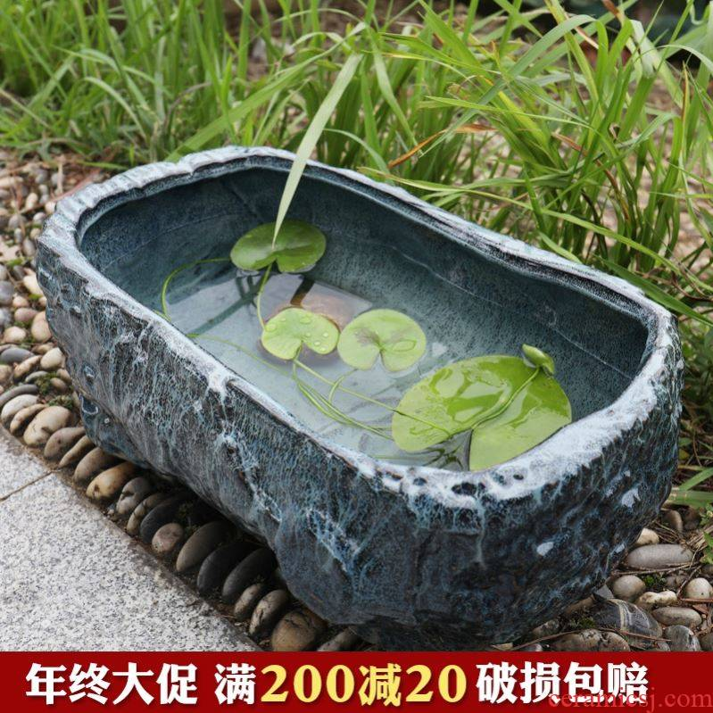 Jingdezhen ceramic goldfish bowl lotus lotus basin cylinder tortoise imitation stone rockery rectangle fish bowl sitting room