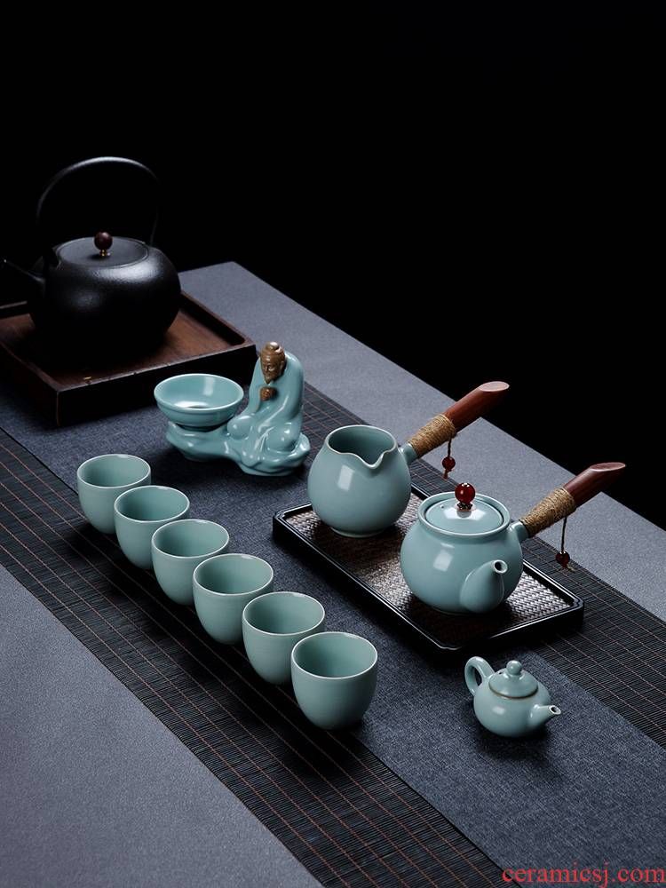 Your up crack tea set suit household between ceramic kung fu tea cup lid to use office receives a visitor