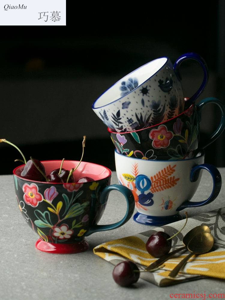 Qiao mu creative ceramic nelly breakfast cup drawing under the glaze color high cereal bowl of kitchen utensils milk cup