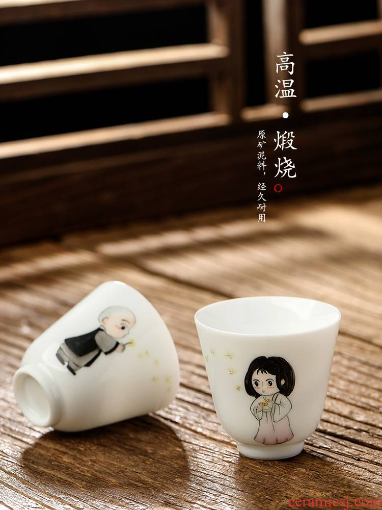 Pure manual white porcelain sample tea cup single CPU kung fu tea masters cup ceramic cups small jingdezhen hand - drawn characters