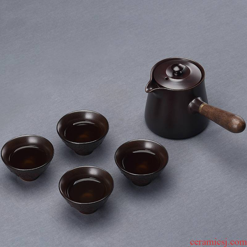 Qiao mu ceramic boiling tea ware black tea kettle side spend pot of contracted Japanese teapot teapot set of household electricity